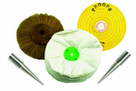 "Buffing Polishing 5 Piece Set, 6"", Brass, Swans Mop, Brush Wheel, Left & Right Pigtail Arbor. X1295"